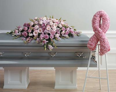 Pink Breast Cancer Casket and Standing Spray