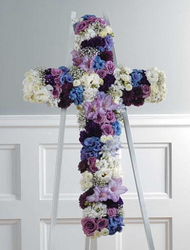 Jewel Toned Cross of Roses and Mor