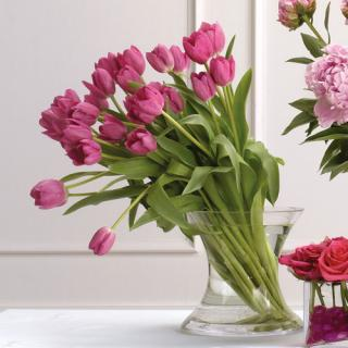 Pink Tulips Vase Arrangement